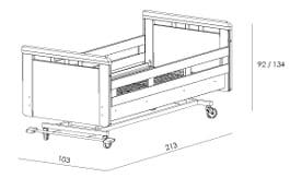 Buitenwerkse maten hoog-laag zorgbed Qure - model Montreal
